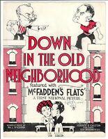 1927 Scarce Silent Movie Sheet Music DOWN IN THE OLD NEIGHBORHOOD McFadden Flats