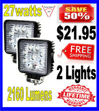 2X 27W 27watt 12V 24V 2160Lumen Offroad SUV LED Square WorkLight Truck Boat Lamp