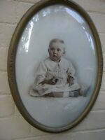 Antique Original Photograph ' Lamaire Studios'Baby Girl in Oval Frame Vnt 1900's