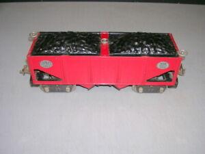 LIONEL PREWAR STANDARD GAUGE 516 HOPPER RED CAR WITH COAL LOADS