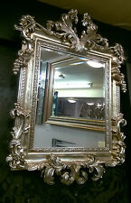 French Shabby Chic Vintage Champagne / Antique Silver Ornate Mirror 107x76cm