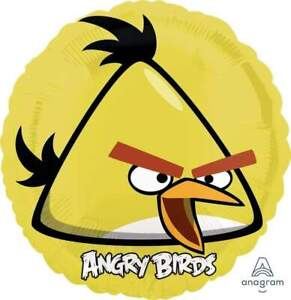 5 Angry Birds Yellow Chuck Mylar Balloons  Birthday Party Decorations