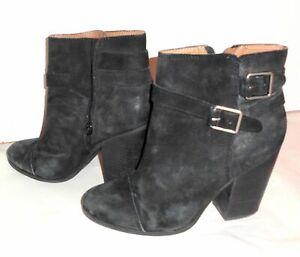 LUCKY BRAND Boots Sz 9M Women Black Suede Leather Block Heel Buckles Booties