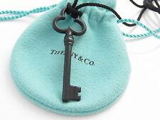 Tiffany & Co Heart HUGE Trefoil Key Black Bone 30 Inch Necklace!