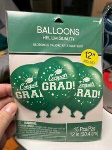 """Congrats Grad! GRADUATION BALLOONS GREEN LATEX- 15ct 12"""" New!!!"""