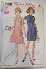 Vintage 1968 Simplicity Sewing Pattern #7986 Misses Size 12 Retro Mod Dress
