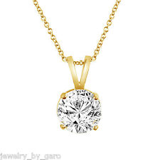 14K YELLOW OR WHITE GOLD 1.01 CARAT SOLITAIRE DIAMOND PENDANT NECKLACE HANDMADE