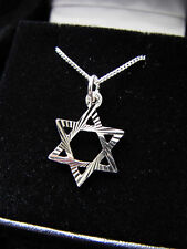 NECKLACE STERLING SILVER STAR OF DAVID PENDANT MENS BOYS 14 16 18 INCH CHAIN 925