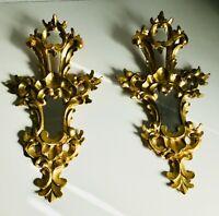 "*2* PAIR Antique 21"" Italian Florentine Mirror Gold Gilt wood Frame Louis Rococo"