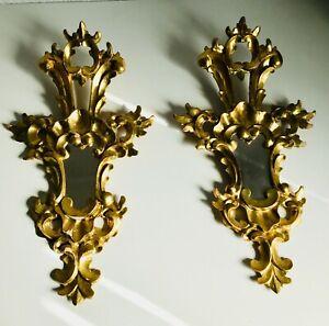 "*2* PAIR Antique 21"" Italian Florentine Mirror Gold Gilt Wood Frame Cornucopia"