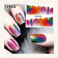 Nail Art Water Decals Transfers Stickers Wraps Rainbow Feathers Gel Polish 8139