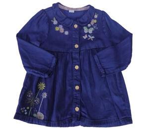 GIRLS LONG SLEEVED BLUE DENIM COLOUR DRESS SIZE 12/18 MONTHS- 5-6 YEARS