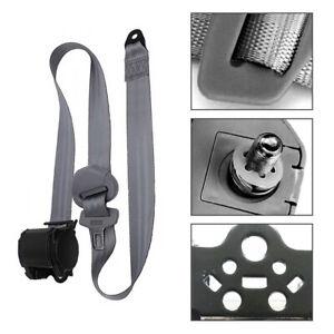 1Set Adjustable Dark Retractable Car Seat Belt Lap 3 Point Safety Universal Gray