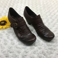 """Bear Traps Womens Leather Tamra Monk Shoes Sz 8.5M 2.5"""" Heel Buckle Brown BR5240"""