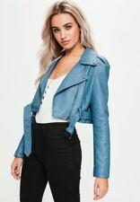 Topshop Zara Missguided Light Blue Super Cropped Biker Leather Jacket- Size 6/8