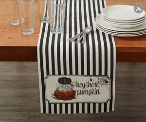 """Halloween Black White HEY THERE PUMPKIN Spider Table Runner 13 x 72"""" Fall Decor"""