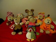 Starbucks Bearista Bear Collection Plush Toys, Lot of 7 + Holiday Penquin