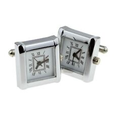 Real Working Clock Square Design with Roman Numerals Cufflinks Boxed X2N273-CBOX