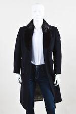 MENS VINTAGE Neiman Marcus Navy Blue Brown Cashmere Fur Collar Coat