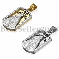 Männer Frauen Edelstahl Jungfrau Maria quadratische Medaille Anhänger Halskette