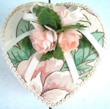 Vintage Hand Made Heart Shaped Box with Roses Old Collectible VINTAGE