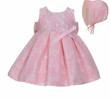 Cinda Baby Girl Pink Lace Party Dress with Bonnet 3-6 Months