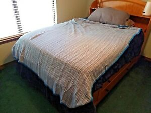 HANDMADE VTG Cool Cotton THROW Quilt Knitted Bed BLANKET 65X90 Blues Greens
