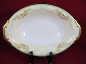 """N.S.P. Meito China  Oval Serving Bowl  11"""" -Green Border-  Floral Gold Trim MINT"""