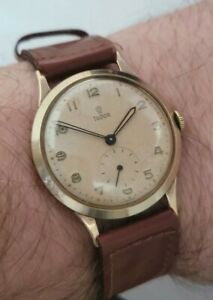 Rare Rolex Tudor Solid 9ct Gold Rolex Case 33mm