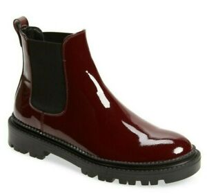 AGL Attilio Giusti Leombruni Chelsea Boots Plum Patent Leather Size 39.5, US 9.5