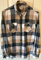 Vans Mens Button-Down Long Sleeve Flannel Shirt skate blue tan plaid Size Medium