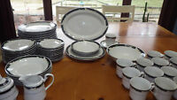 China Dinnerware set Black Fantasy by SANGO Mostly Service 12 63pcs Hostess Pcs