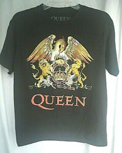 Queen Tee T Shirt Mens Medium Dragon Lions Crest Logo Rock Band Music Black EUC