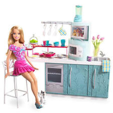 Barbie Home Kitchen and Doll Gift Set Table Chairs Refrig Cart Access. NEW 2006