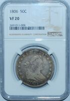 1806 NGC VF20 O-116 T-20 R.3 Pointed 6 With Stem Draped Bust Half Dollar