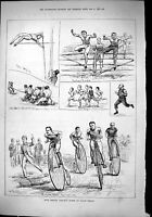Old 1879 Civil Service Athletic Sports Lillie Bridge Bicycle Race Hur Victorian