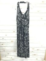 Coldwater Creek Floral Halter Slinky Maxi Gown Dress Black White Womens Size 14P