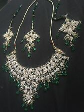 Emerald Green and Silver Bollywood Designer 3 piece necklace set/ ENDING SOON!