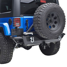 Tubular Rear Bumper With Tire Carrier and D-Ring for 07-18 Jeep Wrangler JK