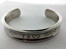 Authentic 1837 TIFFANY & CO. Concave Sterling Silver Cuff Bangle Bracelet Small