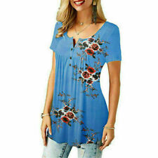 Womens Floral Print Button Pleated Short Sleeve T Shirt Blouse Casual Loose Tops
