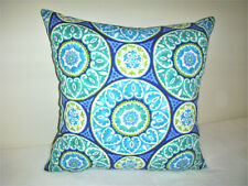 Indoor Outdoor Handmade Pillow Cover Floral Turquoise Lime Blue Green Boho Deck