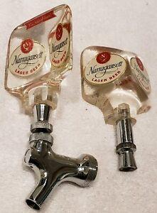 Vintage Pair NARRAGANSETT Lager Beer Lucite Beer Bar Bar Tap Handles HI NEIGHBOR