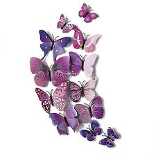 12 Pcs 3D Butterfly Wall Stickers Purple Beautiful Home Art Decor Decal Magnets