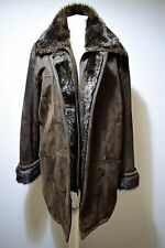 WOMENS SUEDE COAT LONG JACKET FAUX FUR WINTER WARM MANTEL DESIGNER FABIANI UK 18