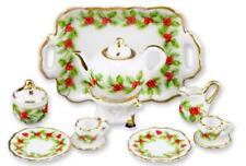 DOLLHOUSE Christmas Holly Tea Set for Two 1.336/8 Reutter Porcelain Miniature