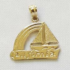 14k Yellow Gold California Boat Pendant / Charm, Made in USA
