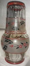 Vintage Water Carafe/Decanter & Glass - Hand Painted Flowers - Super Condition