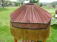 Large Early 1900's Victorian Style Lamp Shade Fabric lace trim W/ Fringe antique