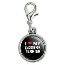 Antiqued Bracelet Pendant Zipper Pull Charm with Lobster Clasp I Love My Dog S-Y